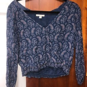 AE paisley long sleeve crop top